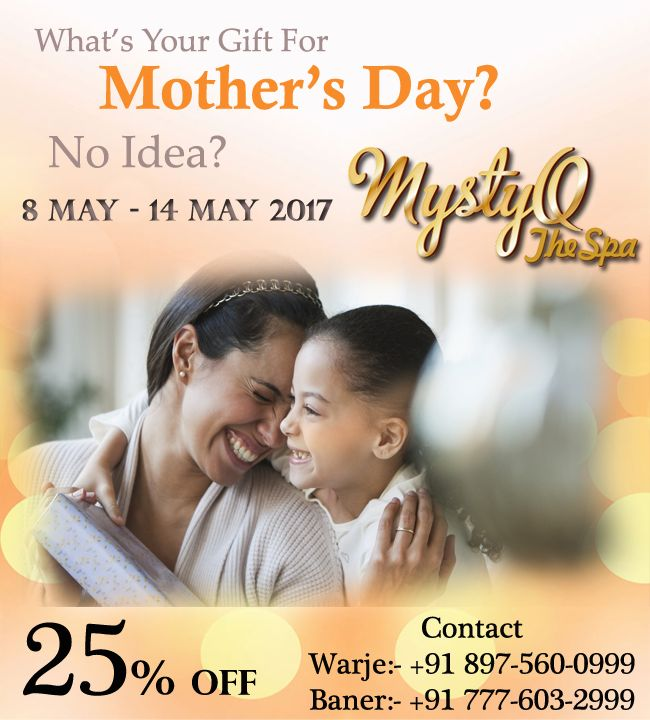 Are you looking for your mother a gift? #Exclusive Mother Day Offer! Get 25% off. Avail the offer @ http://www.mystyqspa.in #Daughter #mother #motherday #motherdays #Happymotherdays  #Gift #Pune #spa #Offer #wife #Spainpune