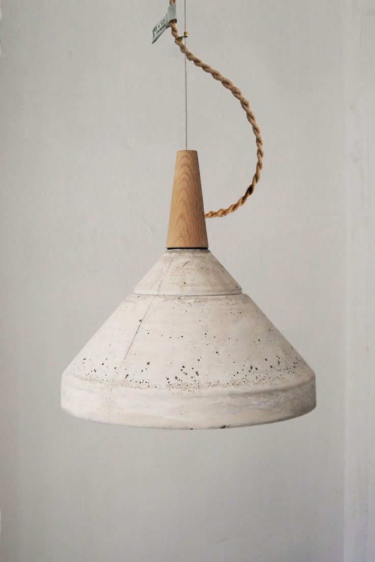 S And L Concrete Ceiling Lamp Is A Cast Concrete Ceiling Lamp, With Natural  Beech Wooden Top, Funnel Type. Includes A Metallic Colored Lamp Socket.