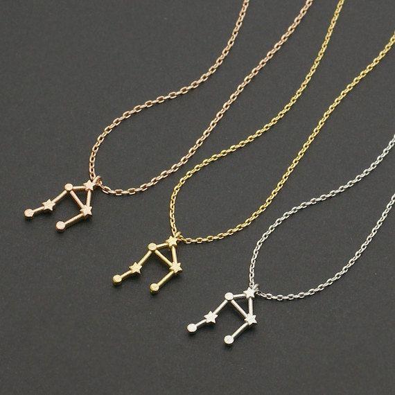 Libra Zodiac Sign Astrology Necklace / constellation jewelry, astrology necklace, star sign, september birthday, october birthday / N101 från Etsy
