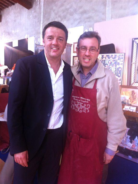 Il Presidente del Consiglio Matteo Renzi con Alessandro Bianchi The Prime Minister Matteo Renzi with Alessandro Bianchi