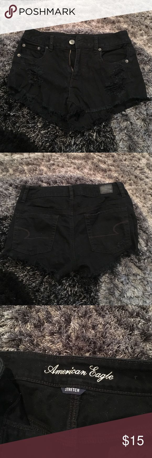 American eagle black denim ripped shorts American eagle black denim ripped shorts. Worn a few times. In really good condition! American Eagle Outfitters Shorts Jean Shorts