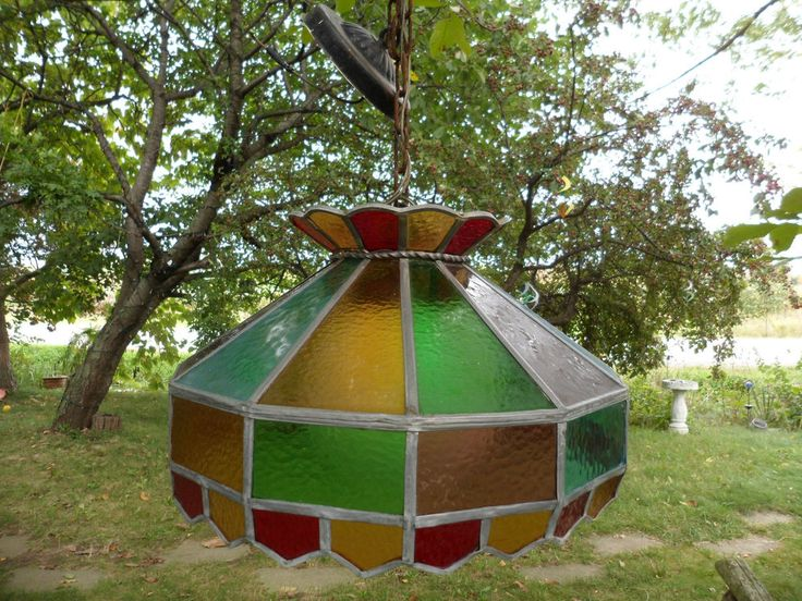 Vintage Leaded Stain Glass Hanging Lamp Light Shade Rainbow Green Blue Yellow