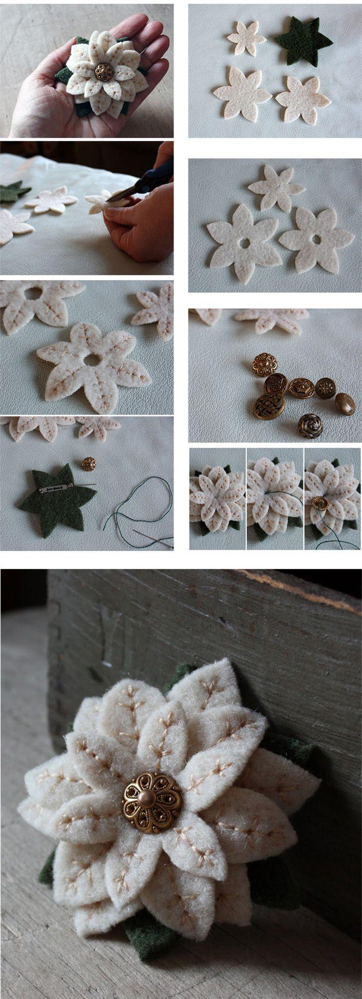 Faça Você Mesmo um lindo broche com flor de feltro! Note como ficou linda a flor com o detalhe da costura.