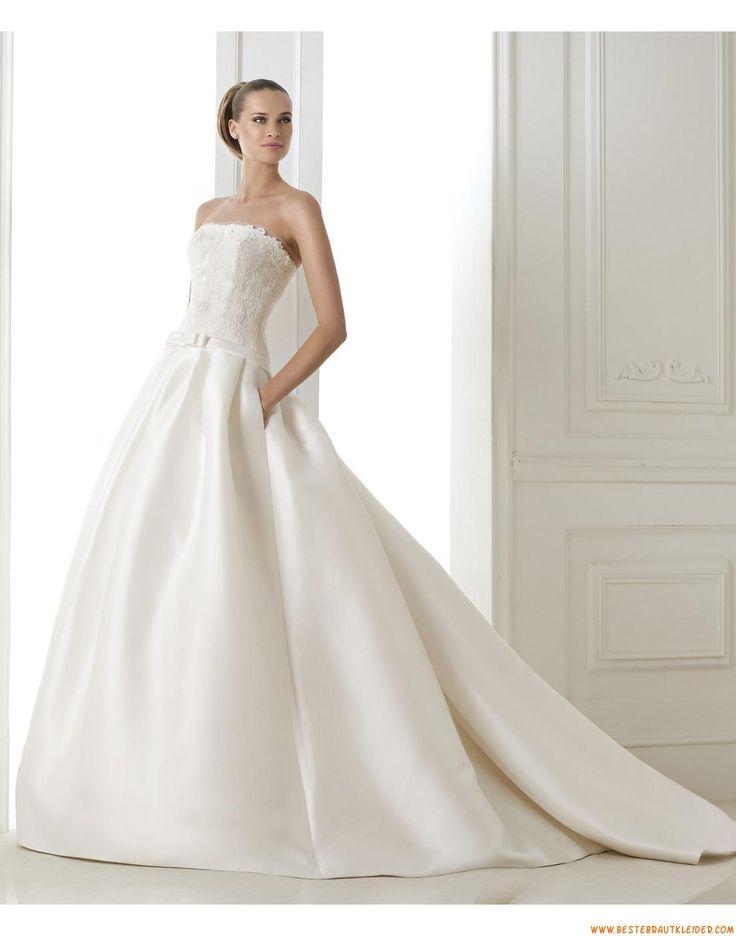 A-linie Trägerlose Extravagatne Brautkleider aus Taft mit Applikation