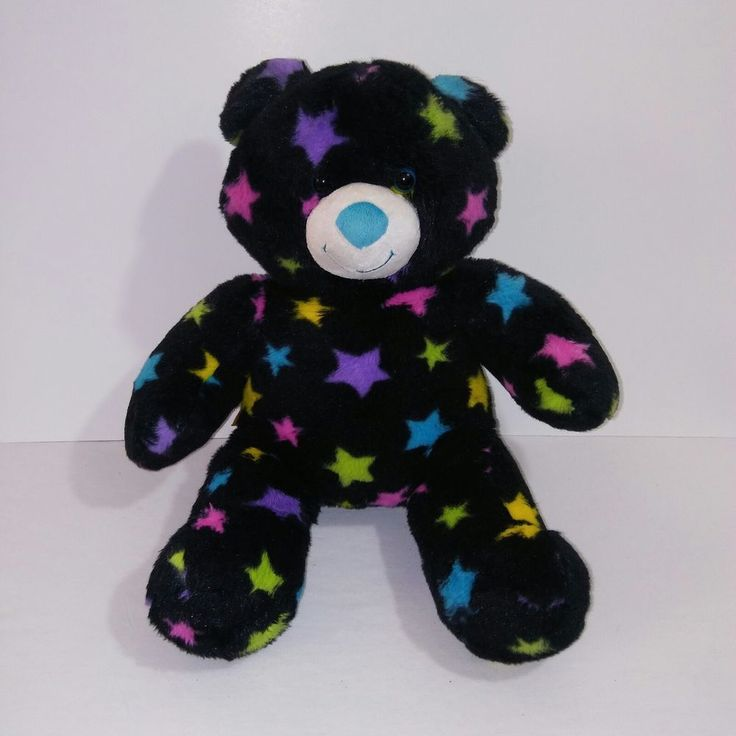 "Build A Bear Workshop Colorful Stars Black Teddy Bear Stuffed Animal Plush 16"" #BuildABearWorkshop"