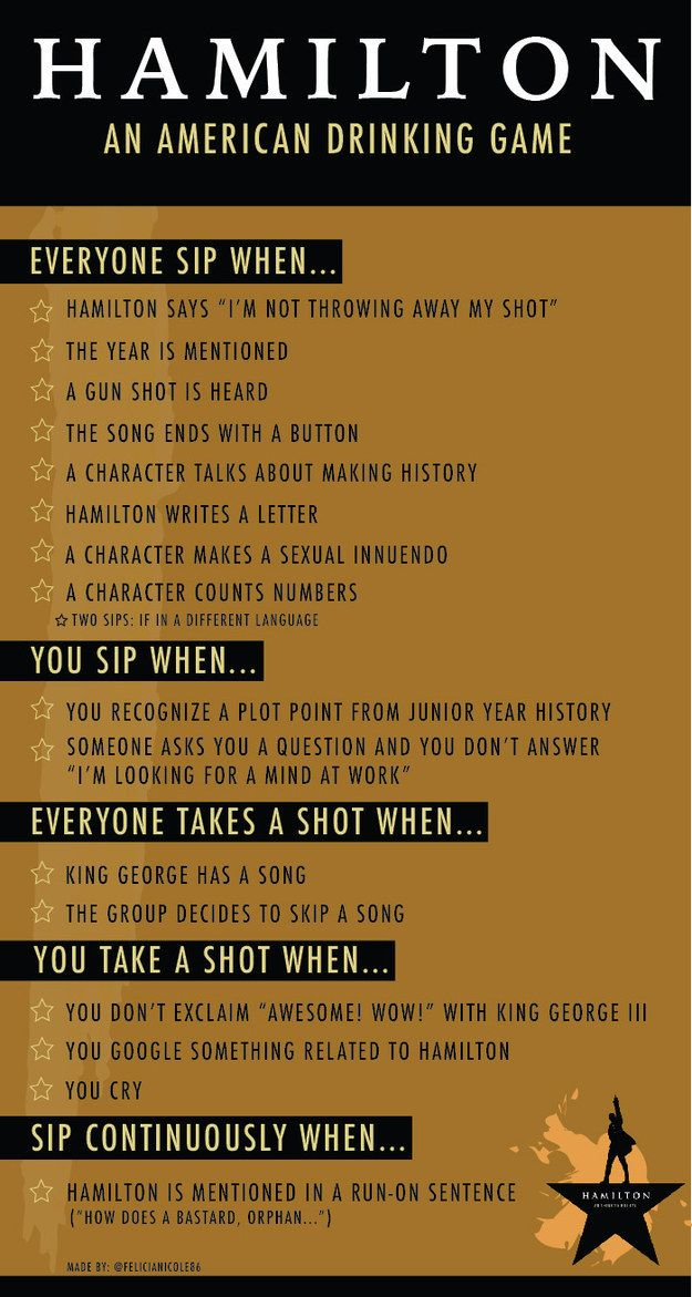 Community Post: The Hamilton Musical Drinking Game You'd get so drunk!