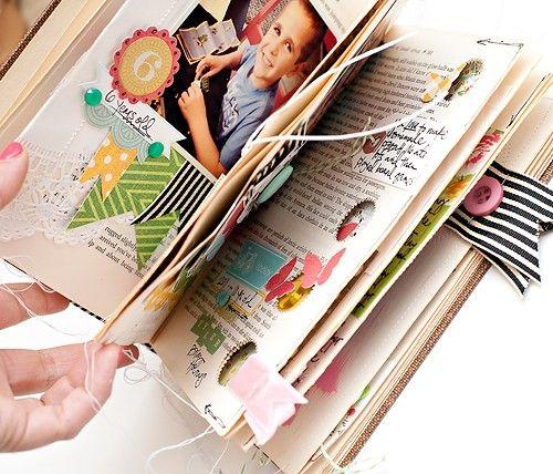 Me encanta esta idea de utilizar un libro para álbum de recortes en!