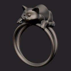 チタン磨き製猫リング 『猫のち~たん』です。大変お肌に優しい ネコリング と、なっております。サイズ:号数を備考欄にご記入下さい。納期は約一カ月です。宜しくお願い申し上げます。