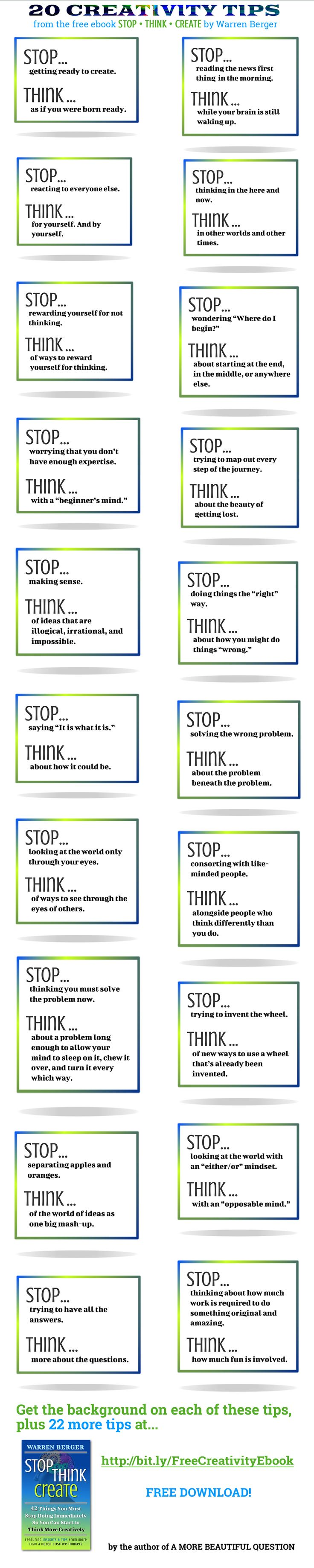 Ready to get #creative in 2015? This #infographic lists 20 of 42 things you must STOP doing immediately. Via Warren Berger & http://amorebeautifulquestion.com/about/free-ebook-stop-think-2/