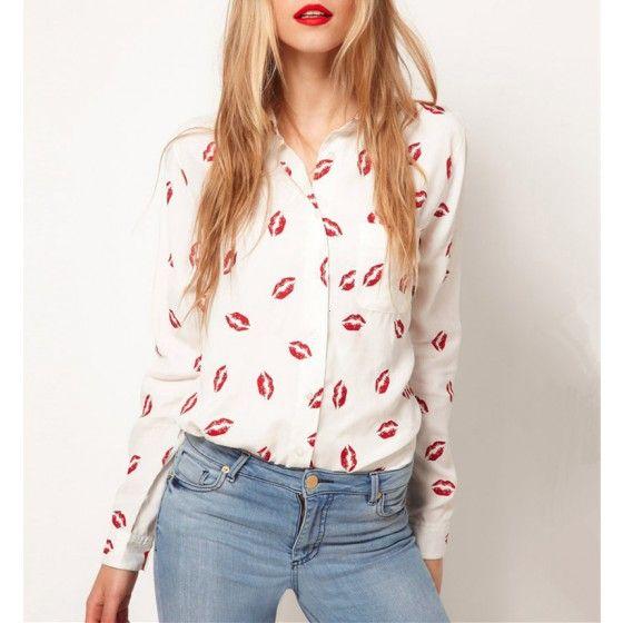 Sexy Lady Women Chiffon Blouse Red Lip Kiss Print Long Sleeve Tops Button Shirt White