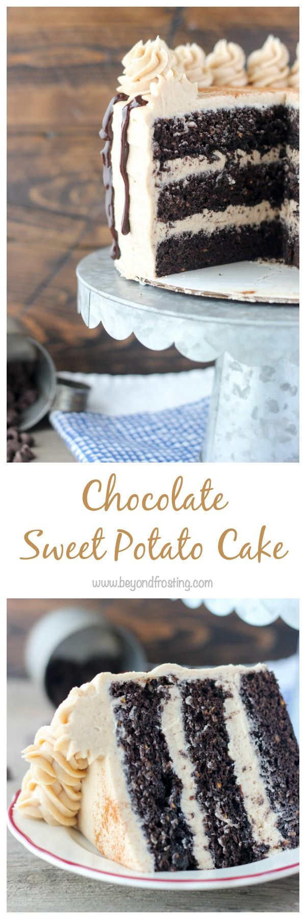 You'll be cutting yourself and extra large slice of this Chocolate Sweet Potato Cake with Cinnamon Brown Sugar Frosting. Three layers of homemade chocolate cake loaded with sweet potato bites. The cake is fluffy and spongy, and a hint of spice. The frosting is to die for and the perfect topping for this cake. What …