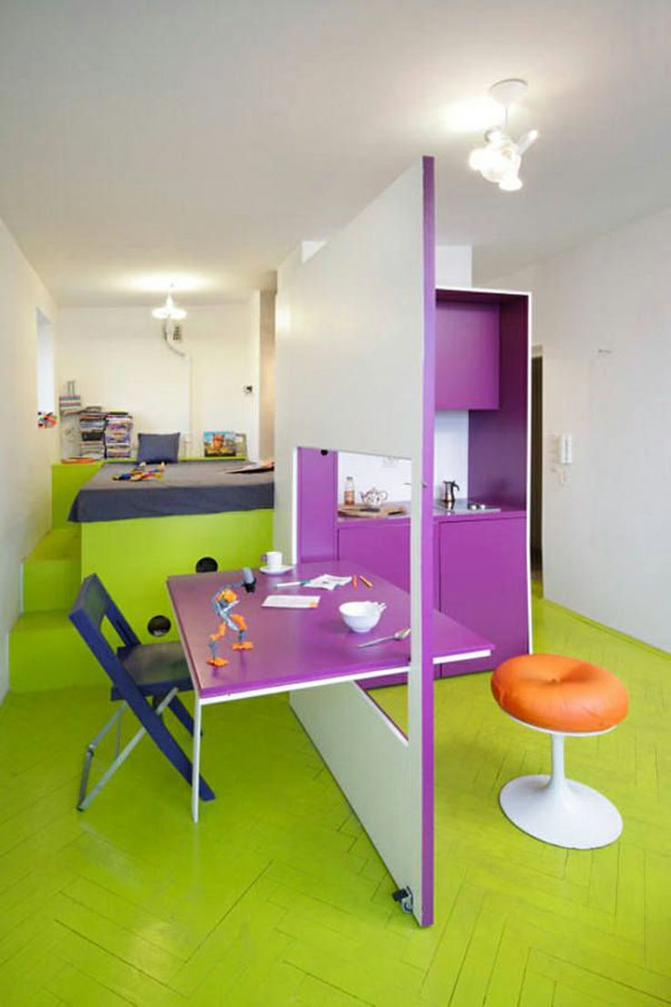 This triadic color design utilizes yellow orange and a dark shade of - Purple And Yellowish Green For Interior Design Of Small Apartment On February 20 2011