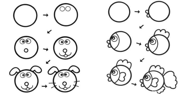 Из простых кружочков учимся рисовать животных!ИДЕИ | ИДЕИ