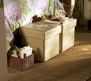 S/2 Faux Leather Fold-Up Storage Ottomans w/ Trays byValerie - QVC.com: Hidden Storage, Storage Cubes, Dvd Storage, Storage Ottomans, Organizational Ideas, Closet, Leather Storage, Storage Ideas, Pinterest Ideas