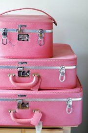 Pretty pink vintage travel gear