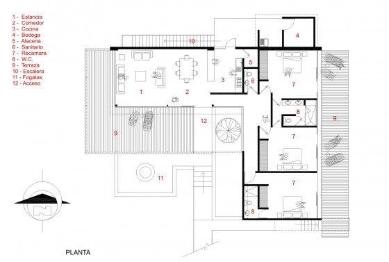 Plano casa de un piso en forma de L