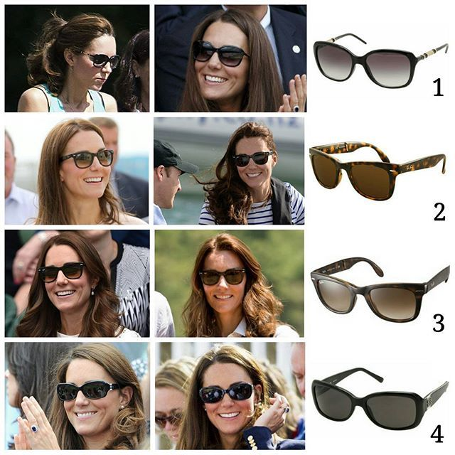 Catherine, The Duchess of Cambridge's sunglasses we have seen since her wedding :: 1. Givenchy Obsedia sunglasses, $212 2. Ray Ban Wayfarer folding classic sunglasses in polorised tortoise, $205 3. Ray Ban Wayfarer folding classic sunglasses, $165 4. Givenchy SGV7610700 sunglasses in black, $231 Which one do you like? You can also comment below your post requests!