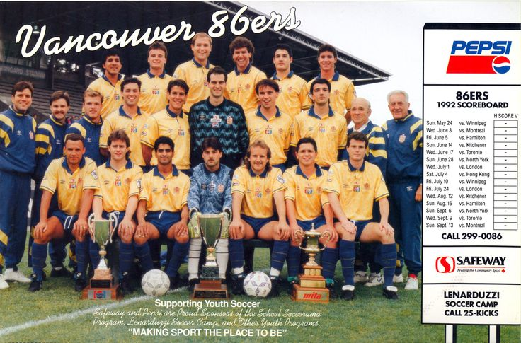 Vancouver 86ers Team Poster, Schedule 1992