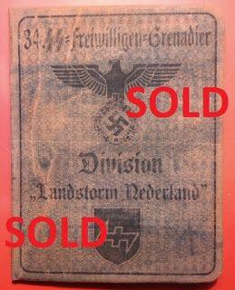 34TH SS VOLUNTEER GRENADIER DIVISION LANDSTORM NEDERLAND WAFFEN SS SOLDBUCH ID CARD WEHRPASS PRICE $125