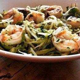 Recette NutriSimple Spaghettis de courgette et fèves germées aux crevettes