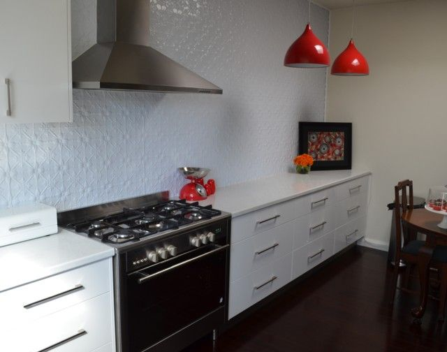 Pressed metal kitchen splashback