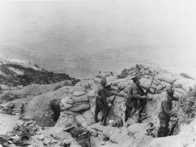 Soldiers Guarding on Ghurka Bluff at Gallipoli During World War I