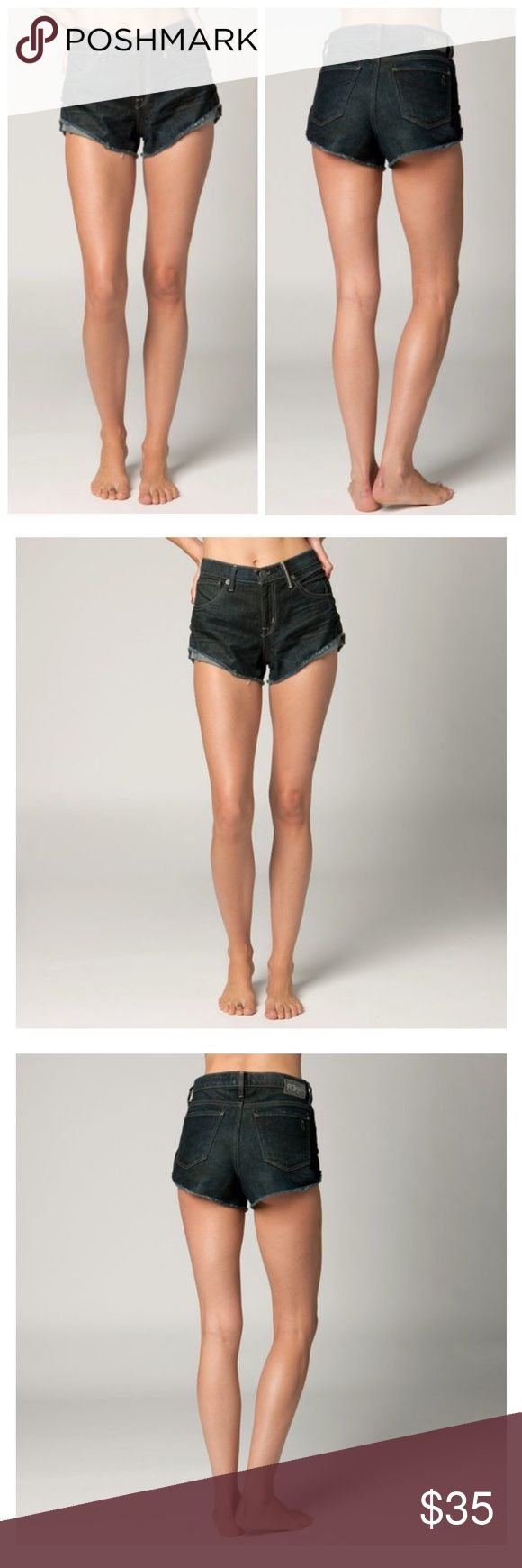"""🆕Fox Racing Womens Pin Up Denim Jean Shorts Look no further than the Pin Up shorts for the perfect pair of high-waisted cut-offs.  FEATURES  High-waisted sorts with cuffed outseam Fox Denim patch with hammered nail heads at back of waistband 2"""" inseam 99% cotton/1% Spandex Fox Shorts Jean Shorts"""