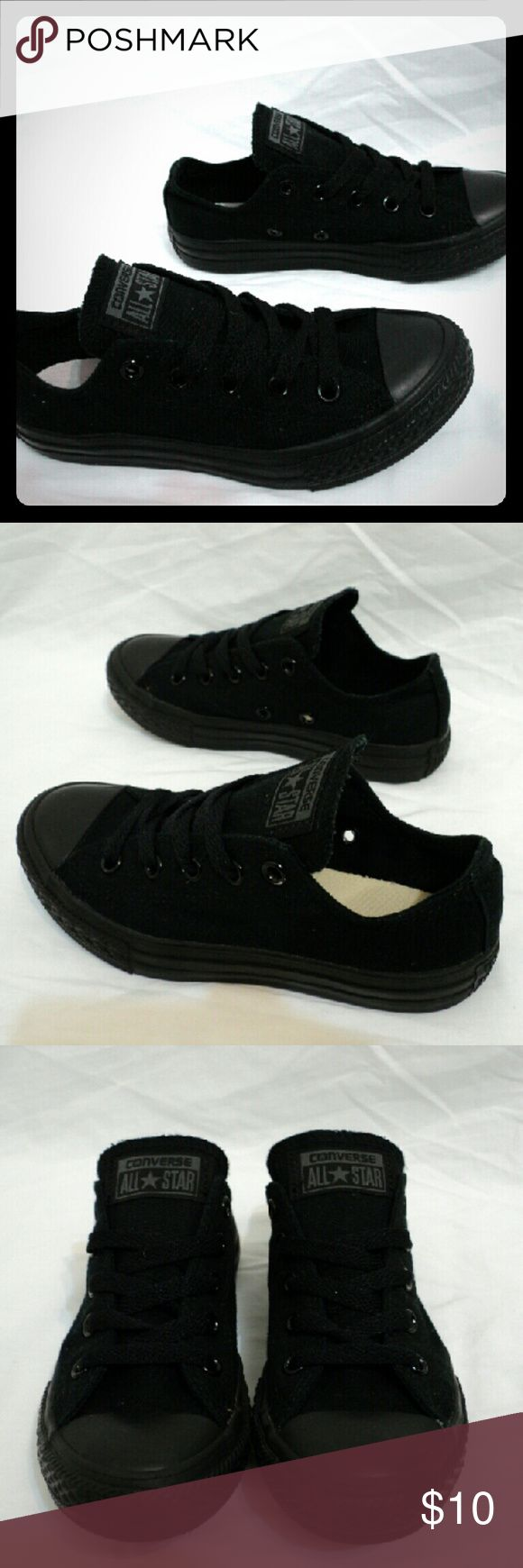 Black Low Top Converse Kids Size 13 Boys Girls Black low top Converse All Star Chuck Taylor Sneakers Kid's size 13 In good used condition, still have a lot of wear left and no holes or stains Converse Shoes Sneakers