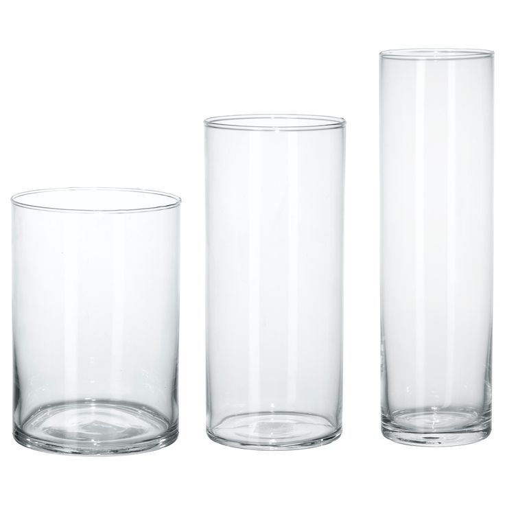 CYLINDER Vase, set of 3 - IKEA $14.99 Can Put urethane or zorbees in there with puck lighting underneath.