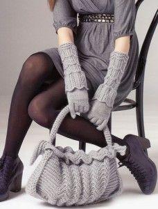 Перчатки с отворотами и сумка
