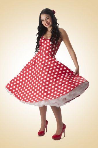 Bunny - 50s Retro halter 50s Meriam Swing dress in Polka red white