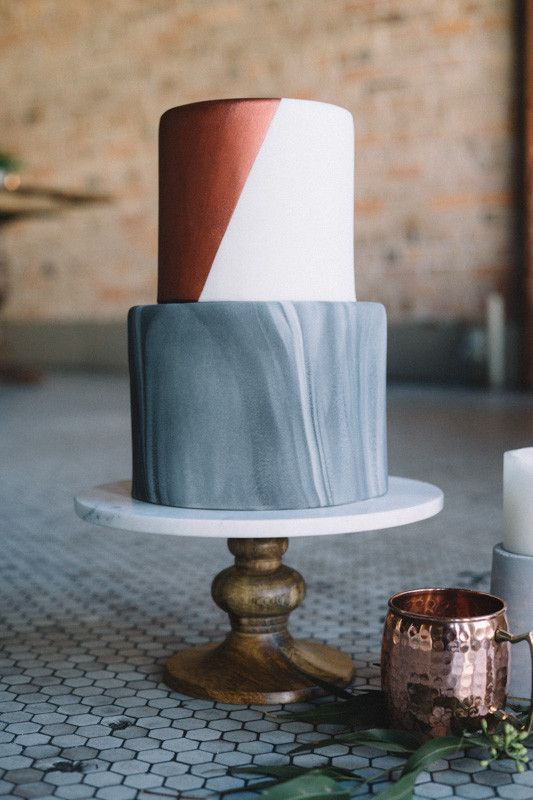grey and copper wedding cake