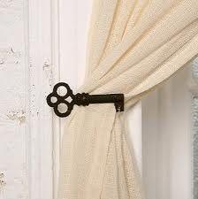 DIY curtain tie backs with oversized iron keys