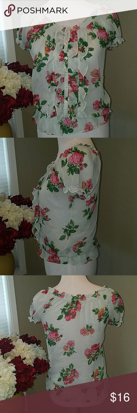 Hollister floral chiffon top Excellent used condition. Very feminine! Hollister Tops