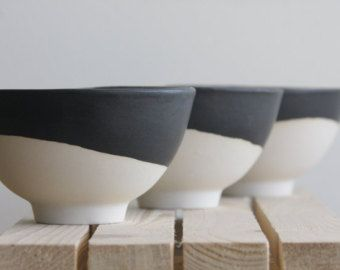 Marble black and white.Handmade ceramic bowl with by ONEandMANY