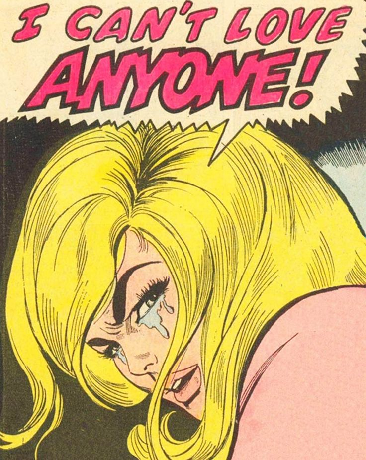 """Comic Girls Say.. """"I Can't Love Anyone!""""   #comic #popart #vintage"""