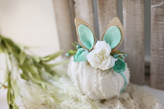 ready to ship aqua calla lily springtime newborn bunny easter woodland ears crown halo floral headband prop