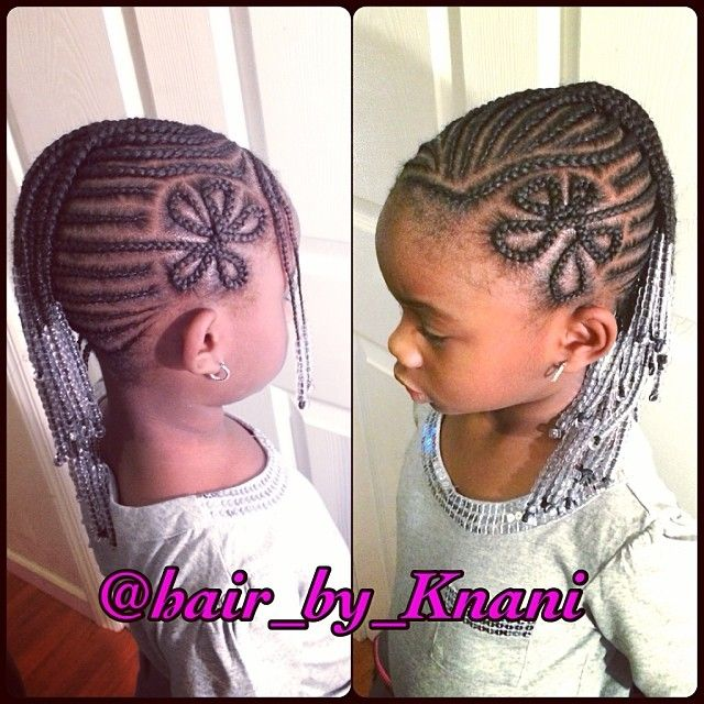 Cute Side Flower Cornrow Design On Natural Hair With Beads