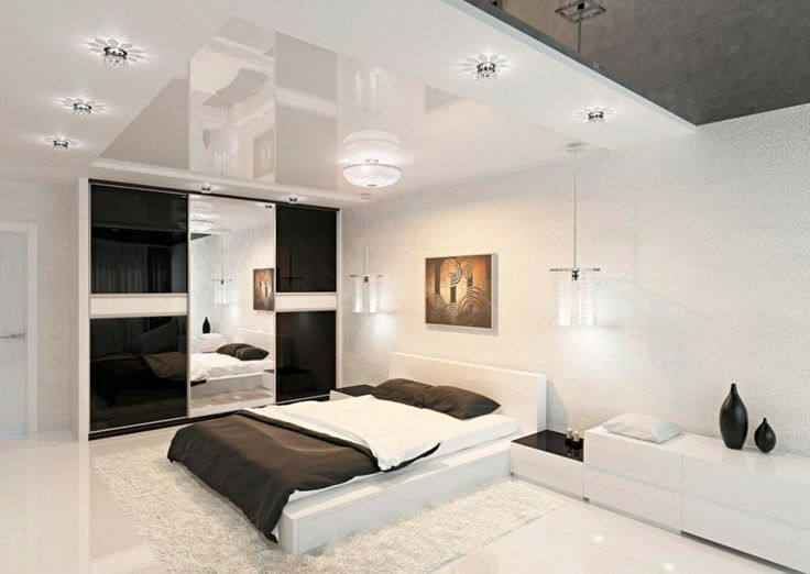 Amazing Modern Bedroom Design Comes With The Comfort Idea:White Sideboard  Design Beside White Platform Bed Unit And White Round Ceiling Lighting Plus  Black ...