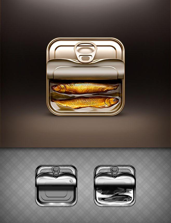 锡罐罐头鱼图标UI设计http://ww...