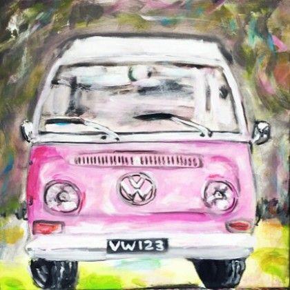 het Volkswagen busje. Zelf komen schilderen? Schilderen met een wijntje. Hét creatieve avondje uit. paintbar.nl.