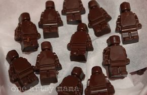 Lego Party Ideas - These lego chocolate men are really cute and look yummy. They will be great as party favours at your lego themed party or as part of your party food treats.