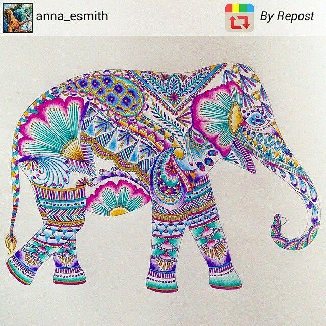 Elefantes são sempre lindos! Repost @anna_esmith #jardimsecreto #florestaencantada #artecomoterapia #florestamagica #reinoanimal #livrodecolorir Colouring in #elephant #indianelephant #milliemarotta #colouringbook #colortherapy #arttherapy