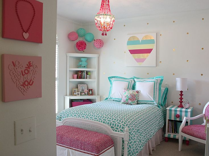 Girl's bright and bold bedroom revamp. Several fun DIY projects. The Creativity Exchange