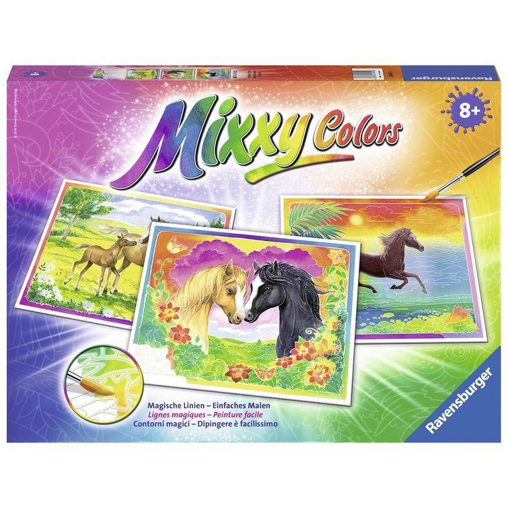 Schilder gelukkige paarden met deze Mixxy Colors Maxi schilderset van Ravensburger. Meng zelf de mooiste verfkleuren met behulp van doseerflesjes op het palet. Schilder over het doek en zie hoe dankzij de magische lijnen die geen verf opnemen, de afbeelding altijd zichtbaar blijft. Zo creëer je gemakkelijke een creatief en kleurrijk schilderij van paarden in de wei, 2 verliefde paarden en een zonsondergang met een paard. In de set vind je 3 schilderijen, waterverf, een penseel en een…