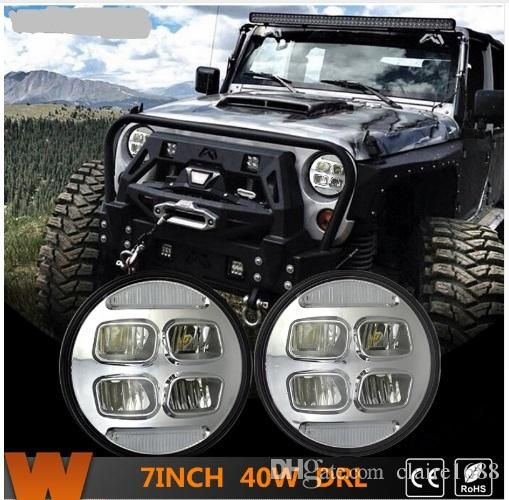 "1 Set/2Pcs 7"" LED Headlights for Jeep Wrangler Hummer Trucks Harley Motorcycle High/Low Beam with DRL Driving Light 40W - $232.99"