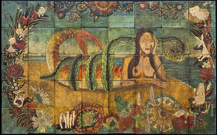 An original work by Lucinda Mudge. #WallPanel #FineArt #ContemporaryArt #Ocean #Mermaid #Ceramic For more please visit www.finearts.co.za