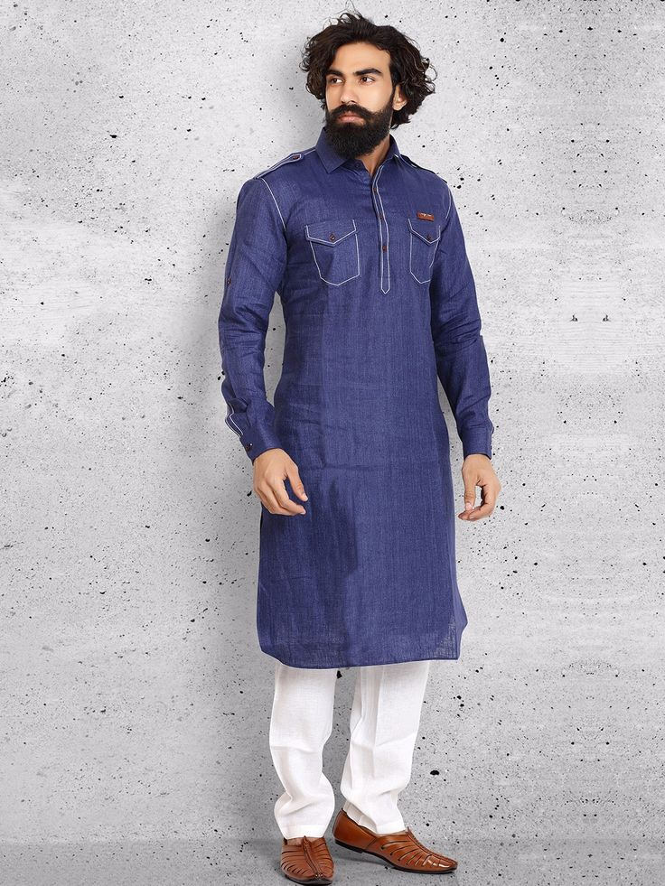 Shop Plain cotton navy pathani suit online from G3fashion India. Brand - G3, Product code - G3-MPS0431, Price - 5495, Color - Navy, Fabric - Cotton,