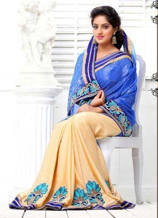 Deepika Singh Latest Blue And Cream Silky With Satin Half N Half Saree