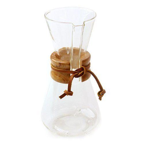 Chemex Classic Series Glass Coffeemaker, 3 cup capacity by Chemex, amazon.com
